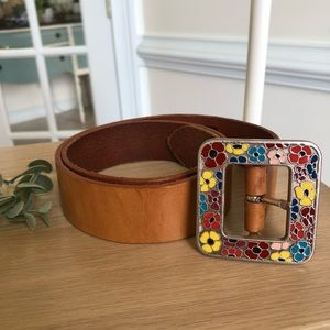Leather belt with floral painted metal buckle